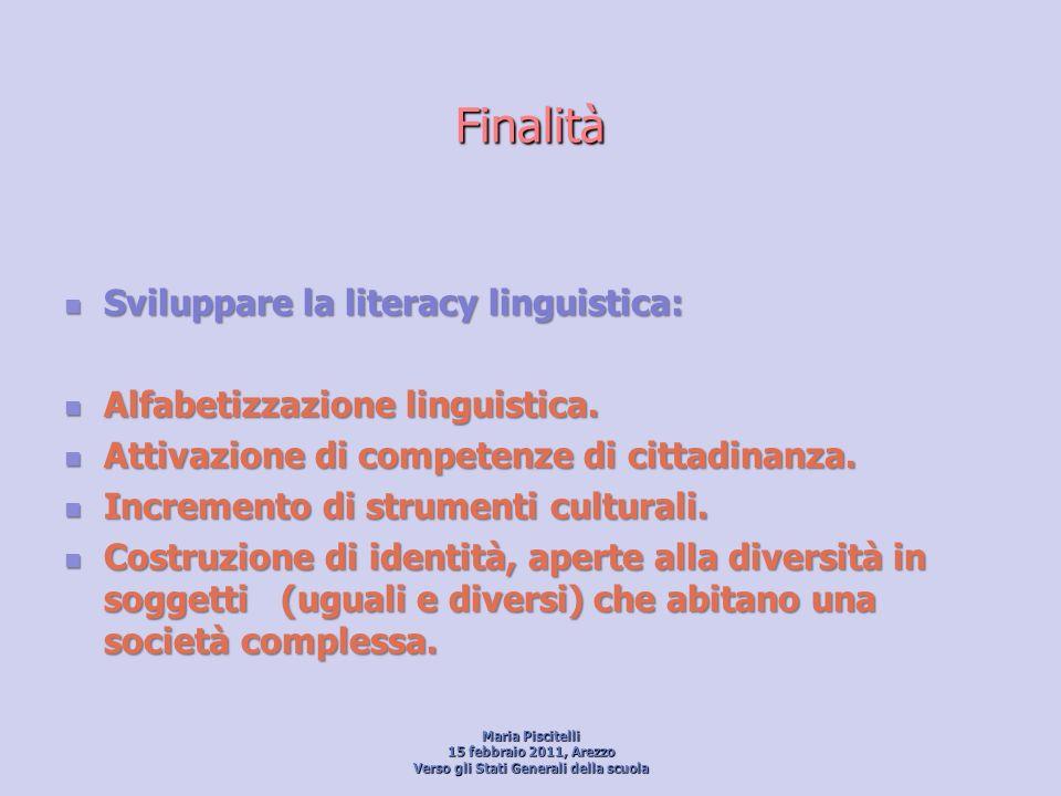 Finalità Sviluppare la literacy linguistica: