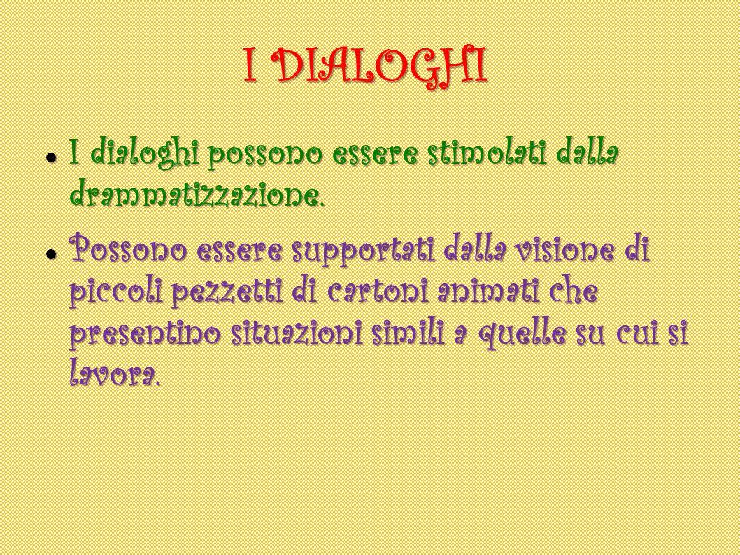 I DIALOGHI I dialoghi possono essere stimolati dalla drammatizzazione.