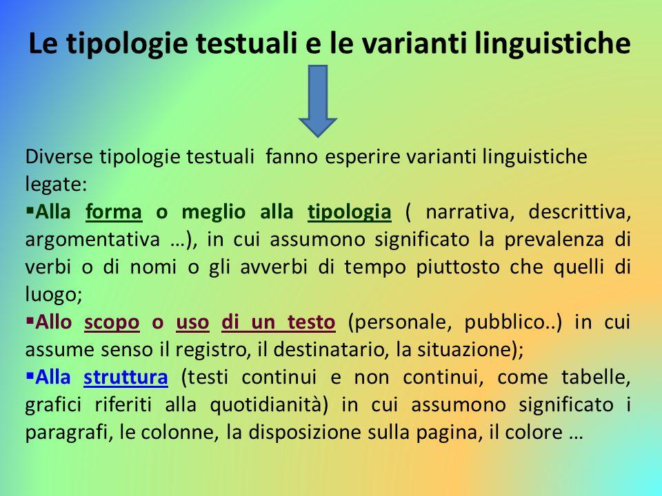 Le tipologie testuali e le varianti linguistiche