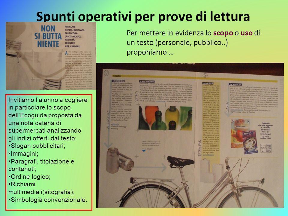 Spunti operativi per prove di lettura