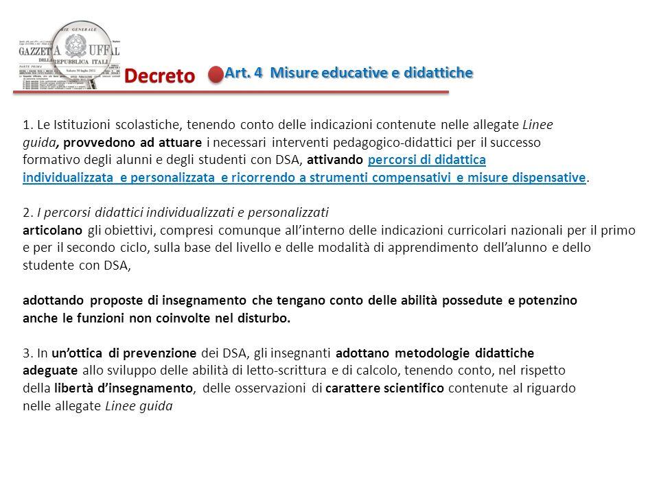 Decreto Art. 4 Misure educative e didattiche
