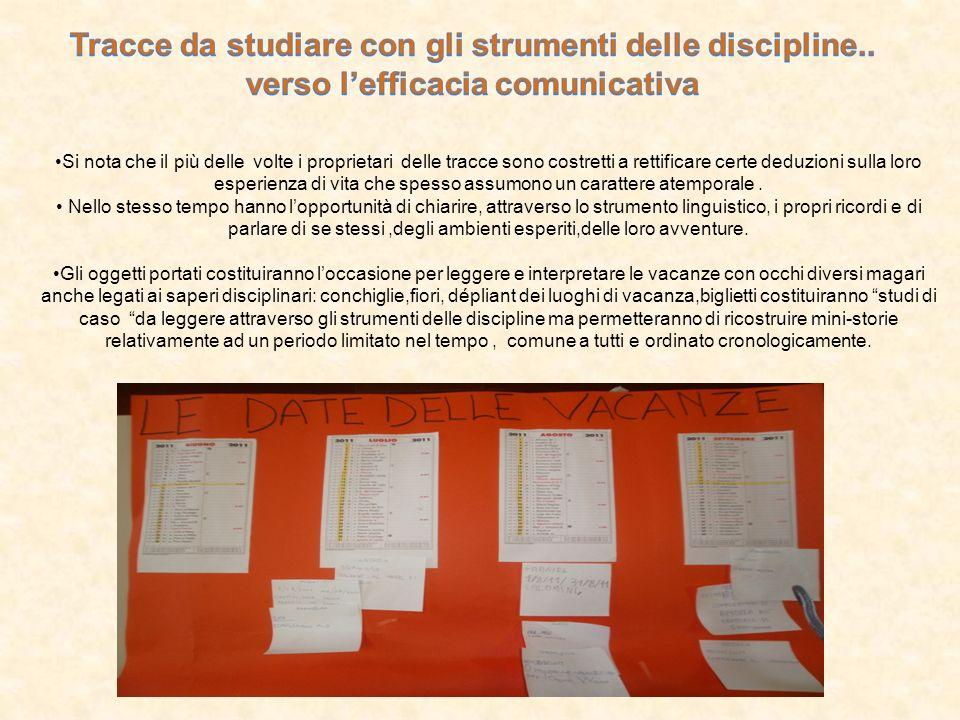 Tracce da studiare con gli strumenti delle discipline..