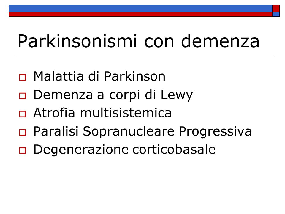 Parkinsonismi con demenza
