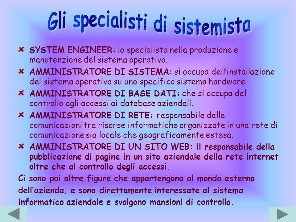 Gli specialisti di sistemista
