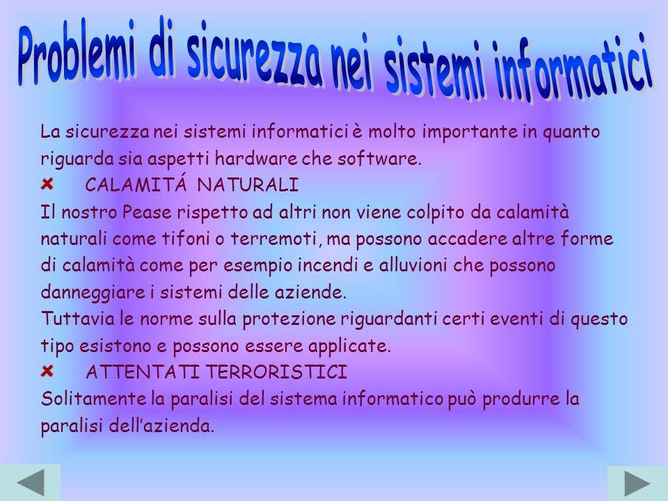 Problemi di sicurezza nei sistemi informatici