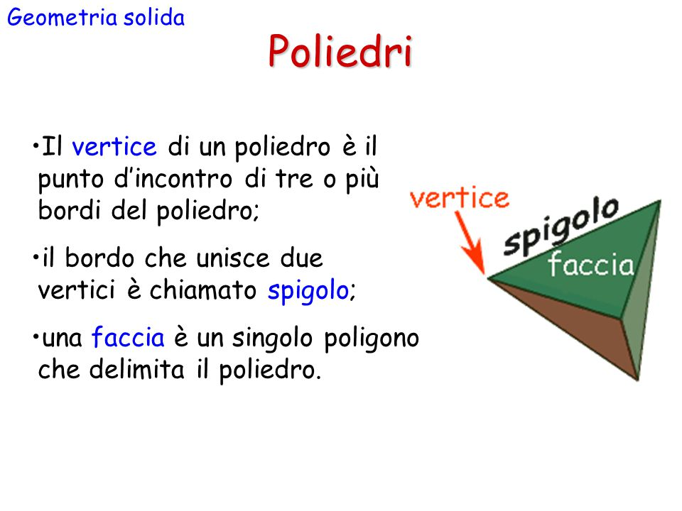 Geometria solida Poliedri. Il vertice di un poliedro è il punto d'incontro di tre o più bordi del poliedro;