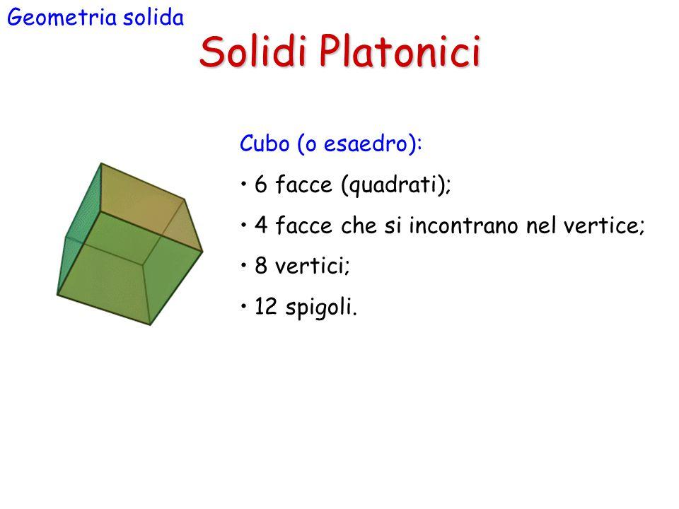 Solidi Platonici Geometria solida Cubo (o esaedro):