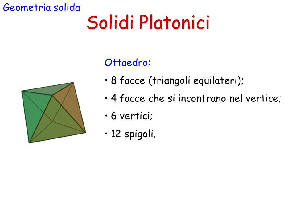Solidi Platonici Geometria solida Ottaedro: