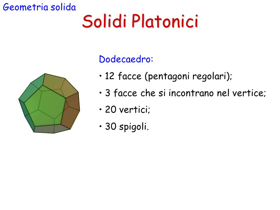 Solidi Platonici Geometria solida Dodecaedro: