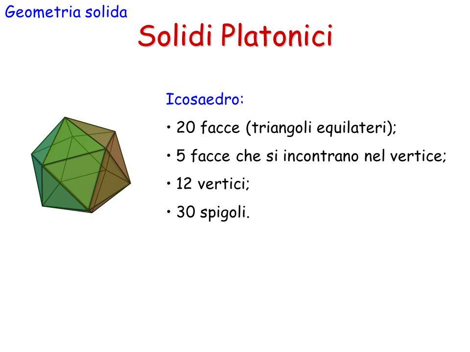 Solidi Platonici Geometria solida Icosaedro: