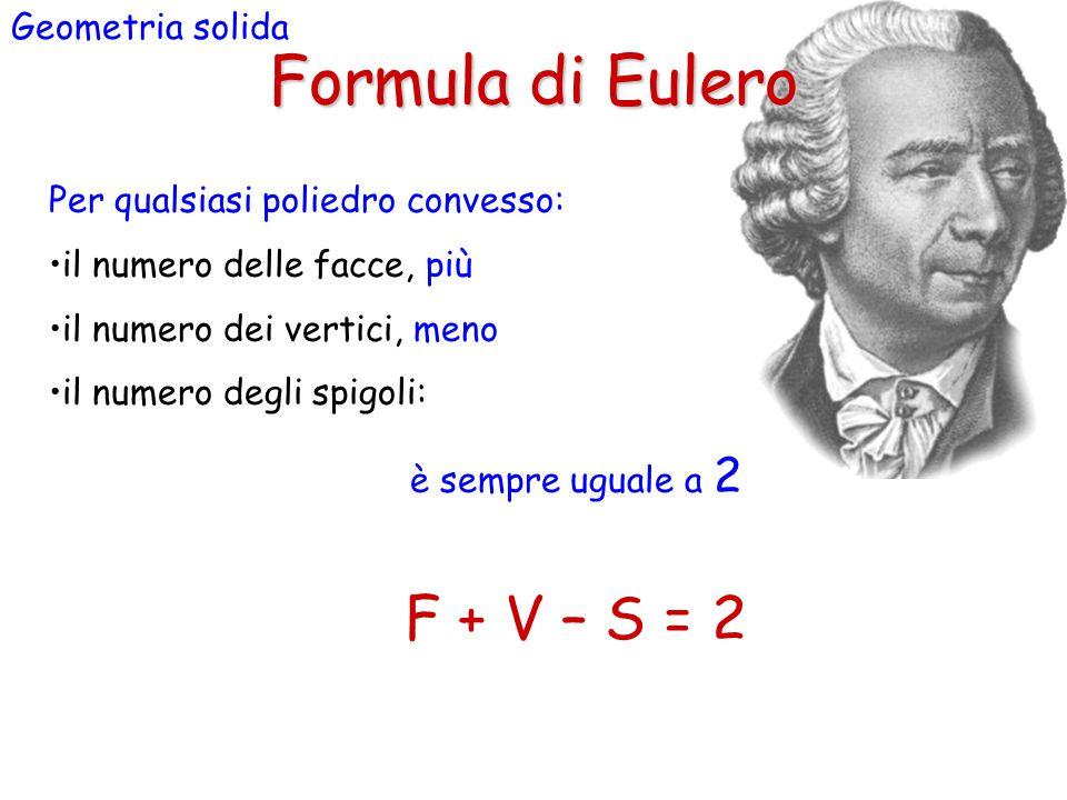 Formula di Eulero F + V – S = 2 Geometria solida