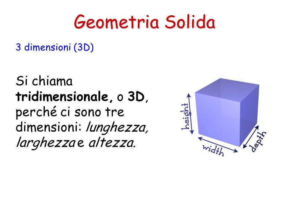 Geometria Solida 3 dimensioni (3D) Si chiama tridimensionale, o 3D, perché ci sono tre dimensioni: lunghezza, larghezza e altezza.