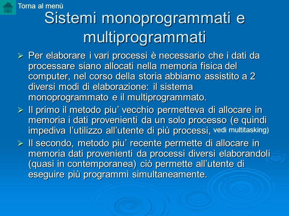 Sistemi monoprogrammati e multiprogrammati