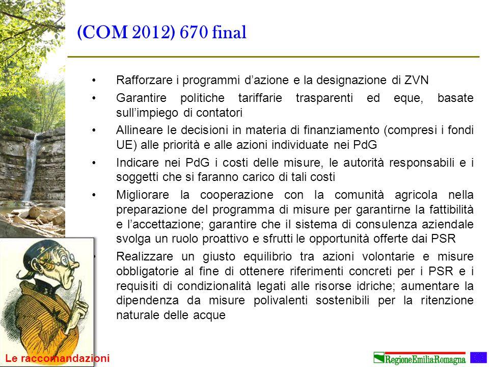 (COM 2012) 670 final Rafforzare i programmi d'azione e la designazione di ZVN.