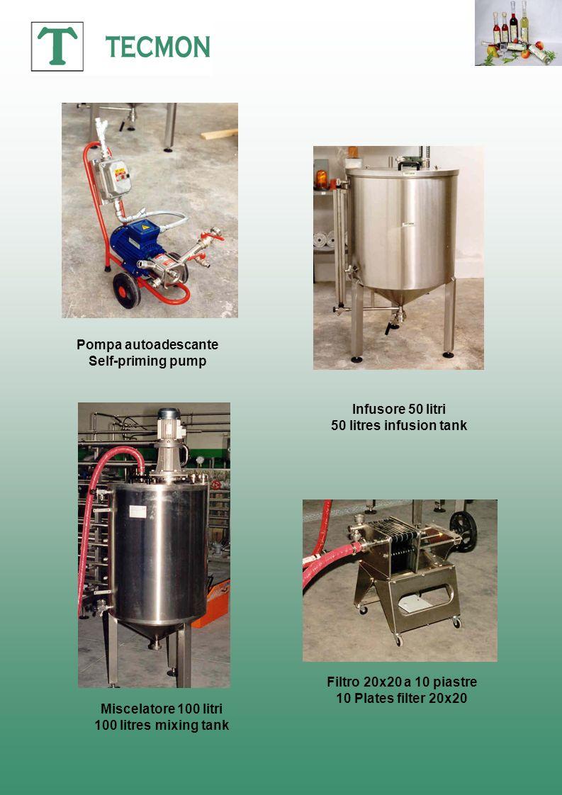Pompa autoadescante Self-priming pump. Infusore 50 litri. 50 litres infusion tank. Filtro 20x20 a 10 piastre.
