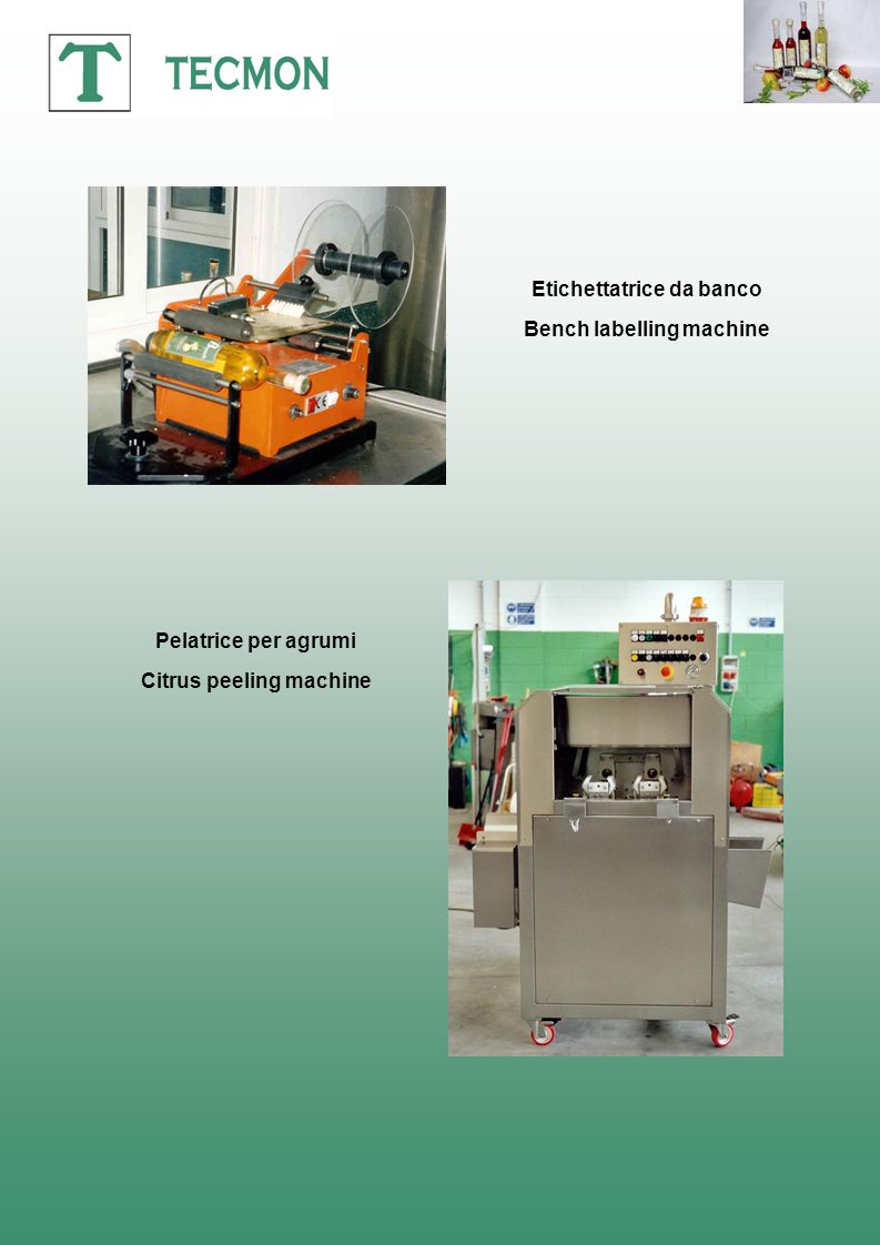 Etichettatrice da banco Bench labelling machine Citrus peeling machine