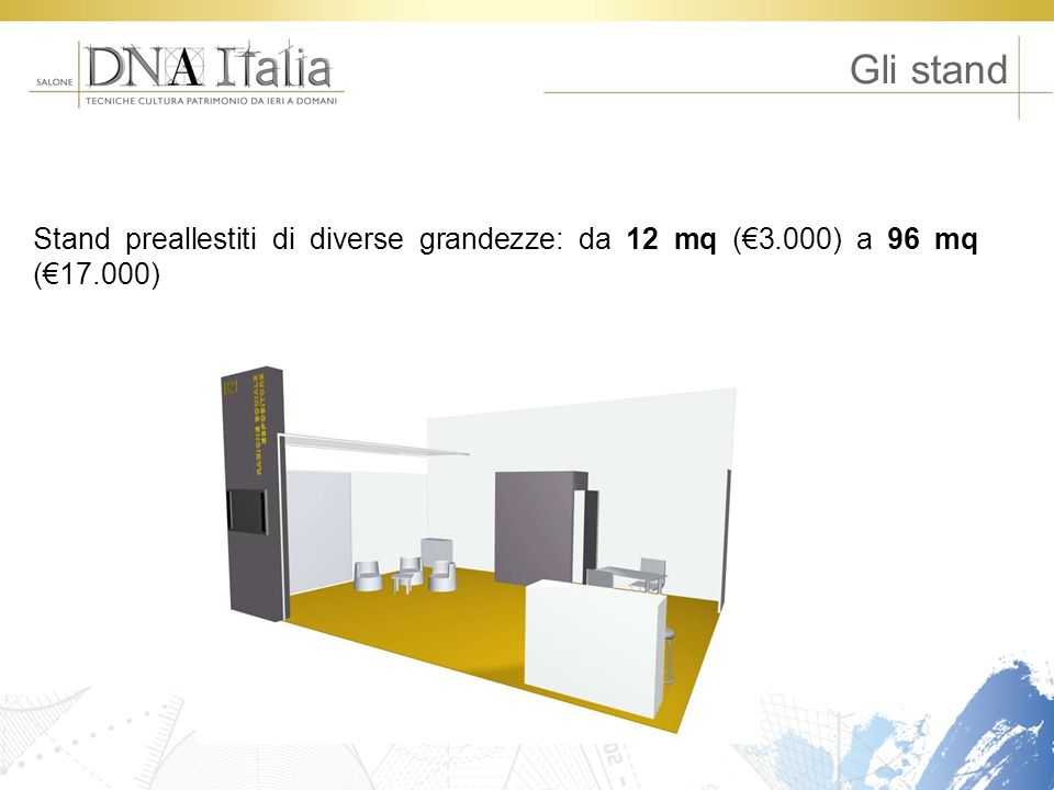 Gli stand Stand preallestiti di diverse grandezze: da 12 mq (€3.000) a 96 mq (€17.000)