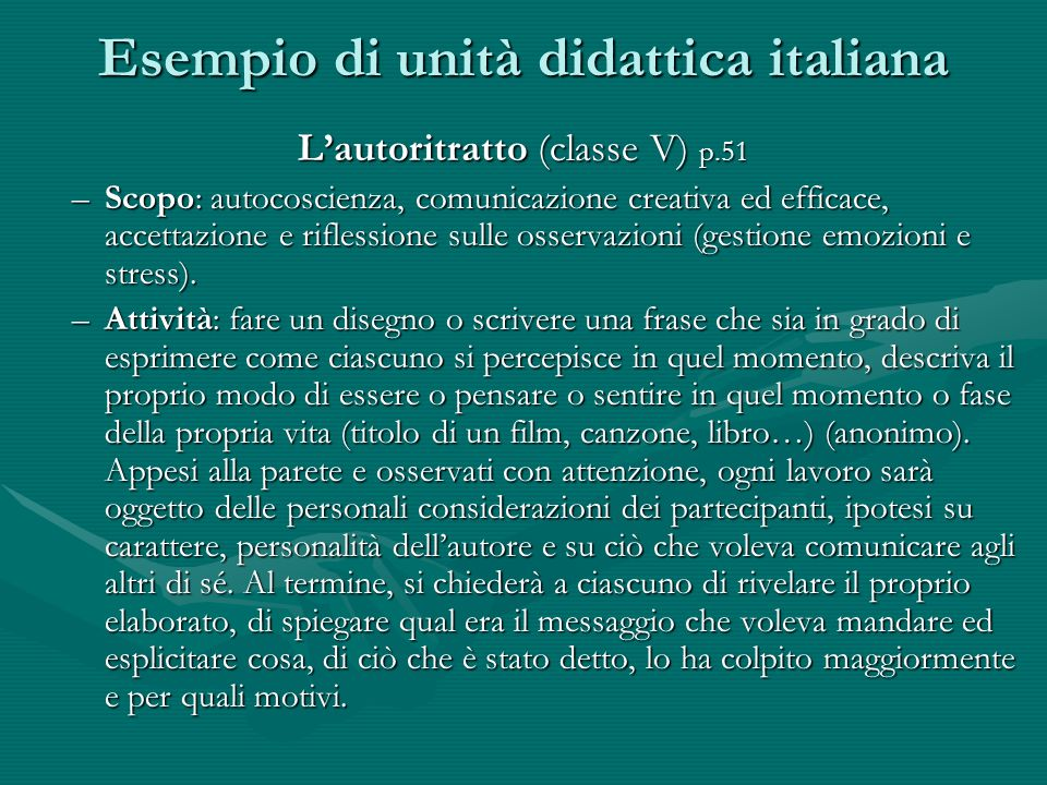 Esempio di unità didattica italiana