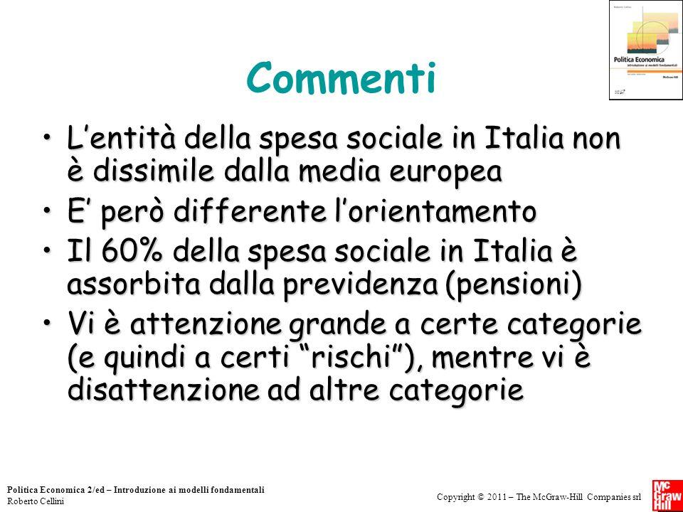 Commenti L'entità della spesa sociale in Italia non è dissimile dalla media europea. E' però differente l'orientamento.