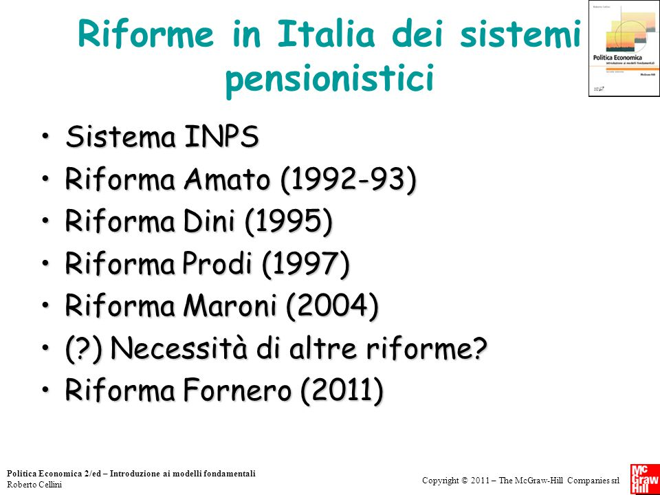 Riforme in Italia dei sistemi pensionistici