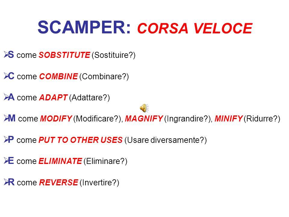 SCAMPER: CORSA VELOCE S come SOBSTITUTE (Sostituire )