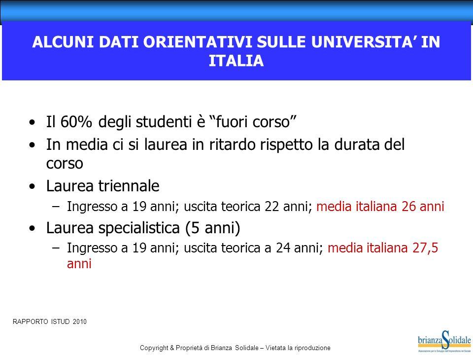 ALCUNI DATI ORIENTATIVI SULLE UNIVERSITA' IN ITALIA