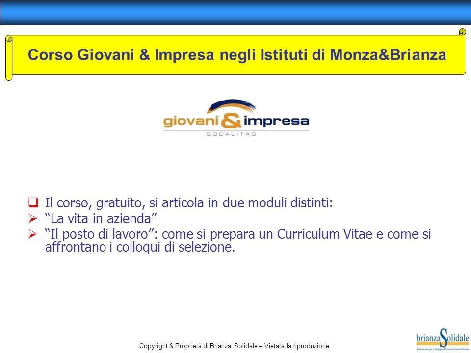 Corso Giovani & Impresa negli Istituti di Monza&Brianza