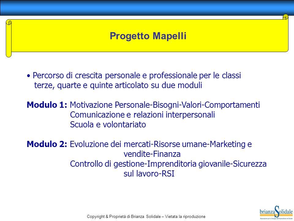 Progetto Mapelli Percorso di crescita personale e professionale per le classi. terze, quarte e quinte articolato su due moduli.