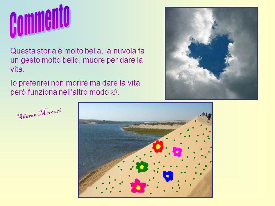 Commento Questa storia è molto bella, la nuvola fa un gesto molto bello, muore per dare la vita.