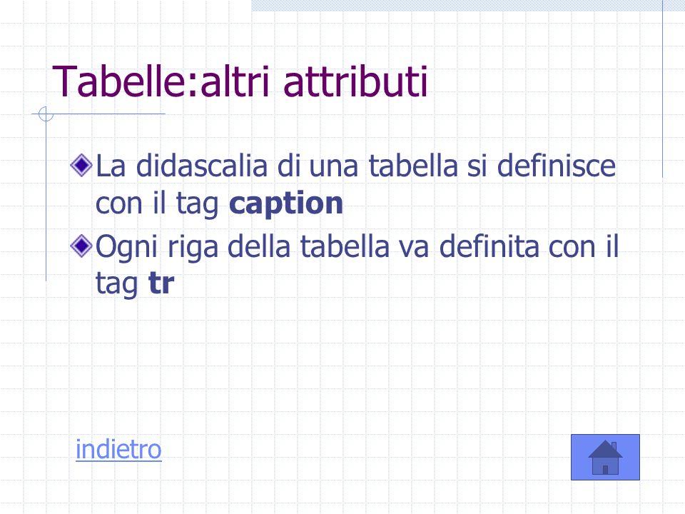 Tabelle:altri attributi