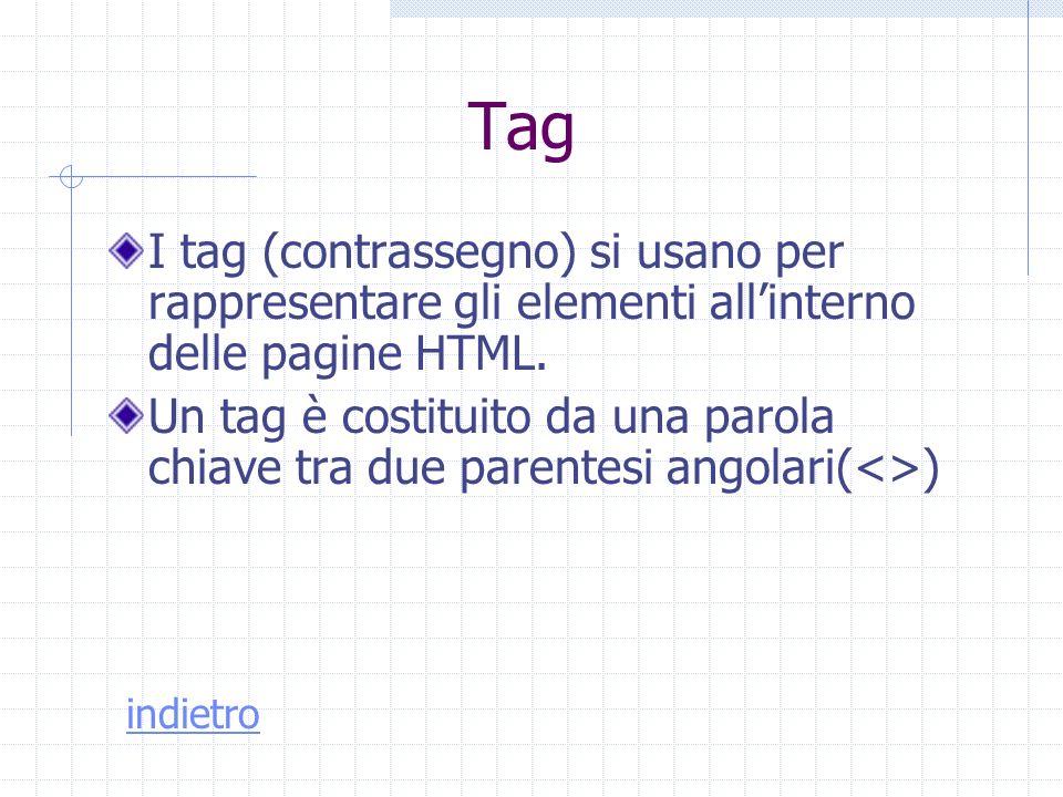 Tag I tag (contrassegno) si usano per rappresentare gli elementi all'interno delle pagine HTML.
