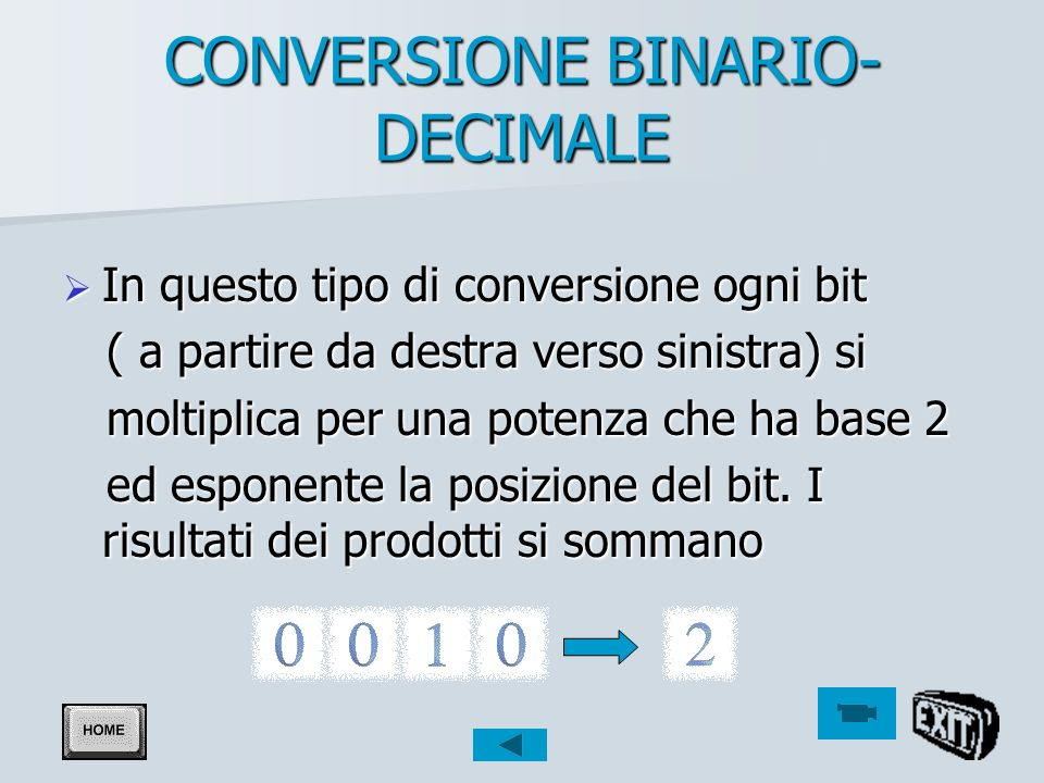 CONVERSIONE BINARIO-DECIMALE