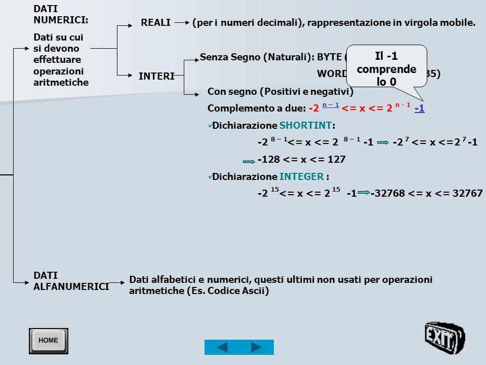 Il -1 comprende lo 0 DATI NUMERICI: