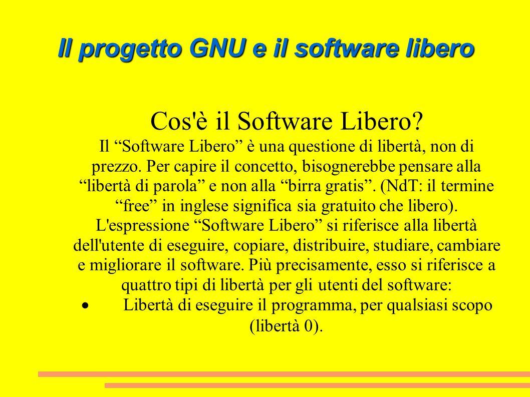 Il progetto GNU e il software libero