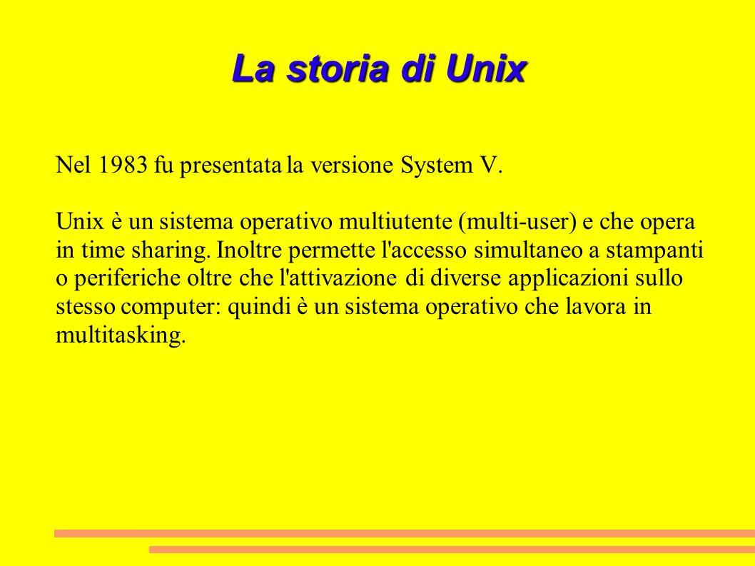 La storia di Unix Nel 1983 fu presentata la versione System V.