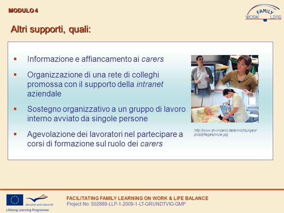 Altri supporti, quali: Informazione e affiancamento ai carers