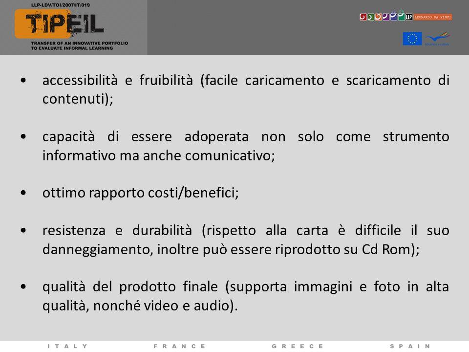 accessibilità e fruibilità (facile caricamento e scaricamento di contenuti);