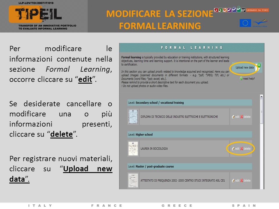 MODIFICARE LA SEZIONE FORMAL LEARNING