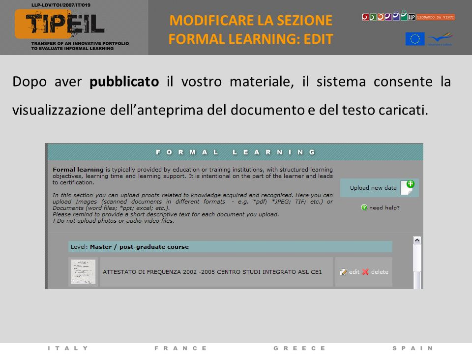 MODIFICARE LA SEZIONE FORMAL LEARNING: EDIT