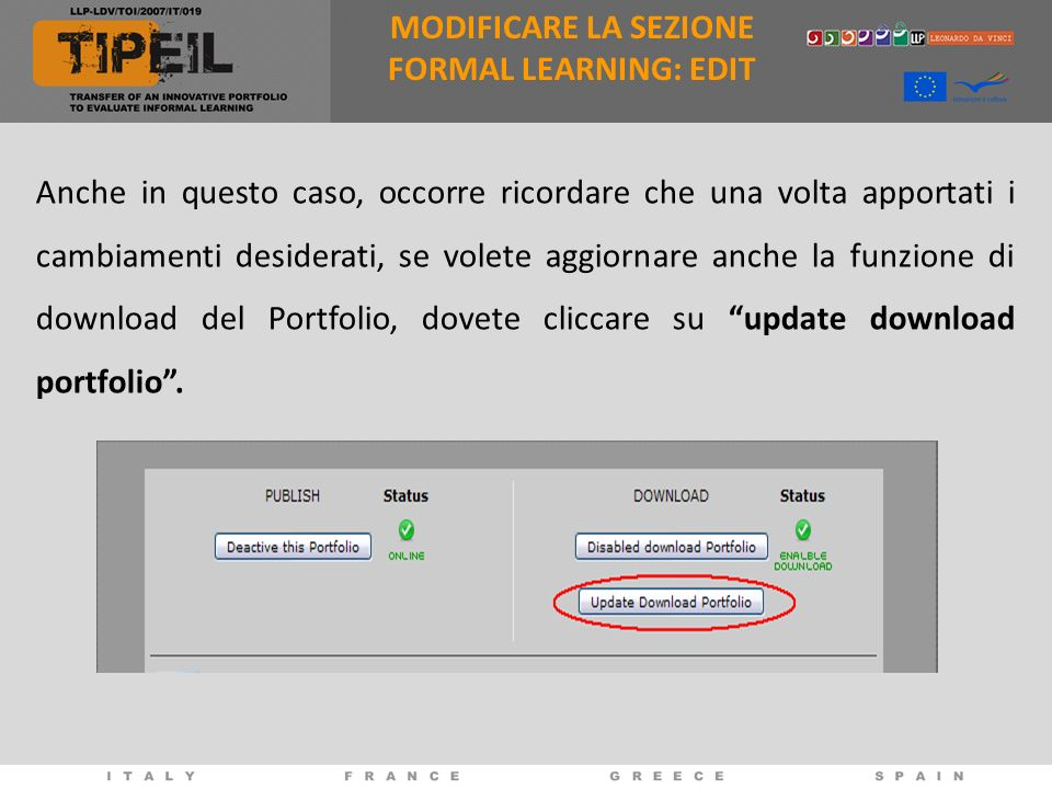 MODIFICARE LA SEZIONE FORMAL LEARNING: EDIT.