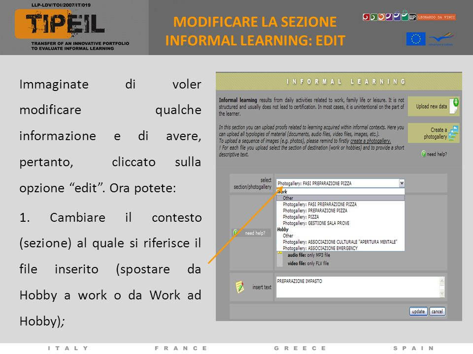 MODIFICARE LA SEZIONE INFORMAL LEARNING: EDIT