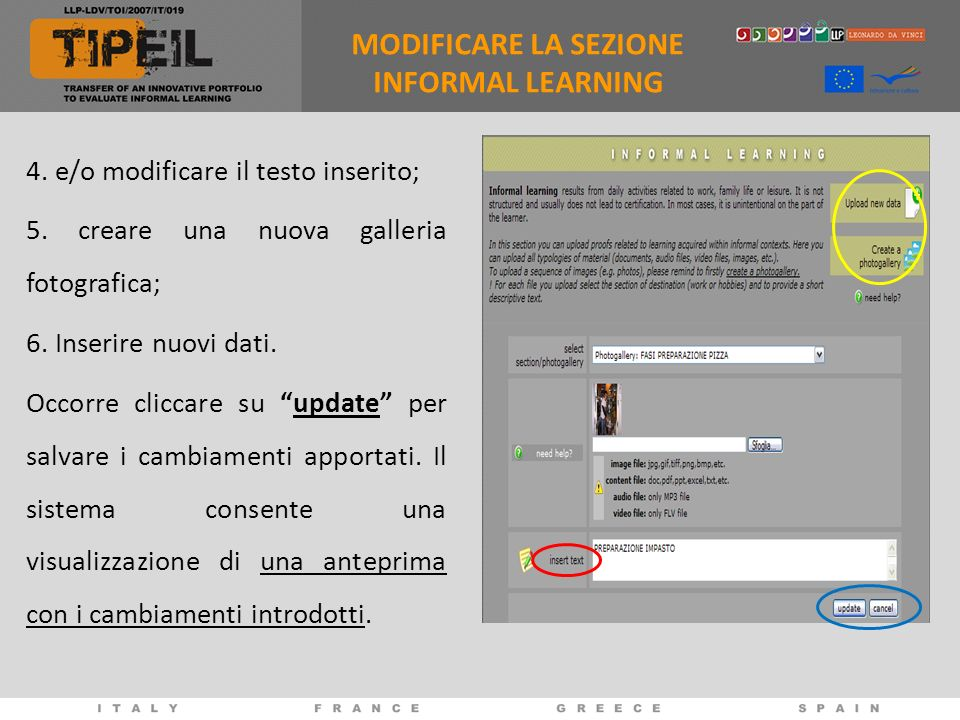 MODIFICARE LA SEZIONE INFORMAL LEARNING