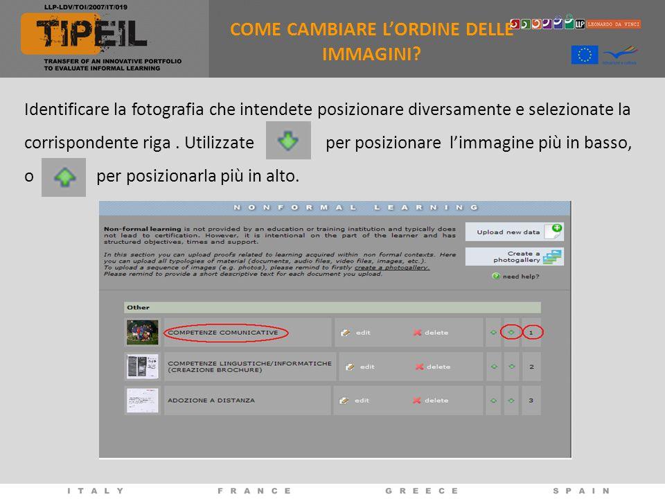 COME CAMBIARE L'ORDINE DELLE IMMAGINI