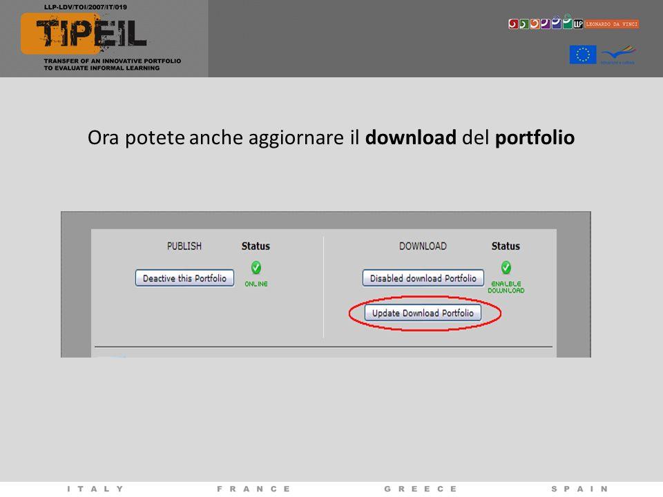 Ora potete anche aggiornare il download del portfolio