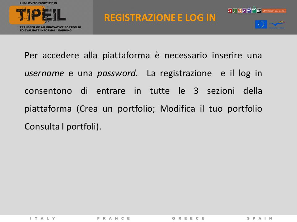 REGISTRAZIONE E LOG IN