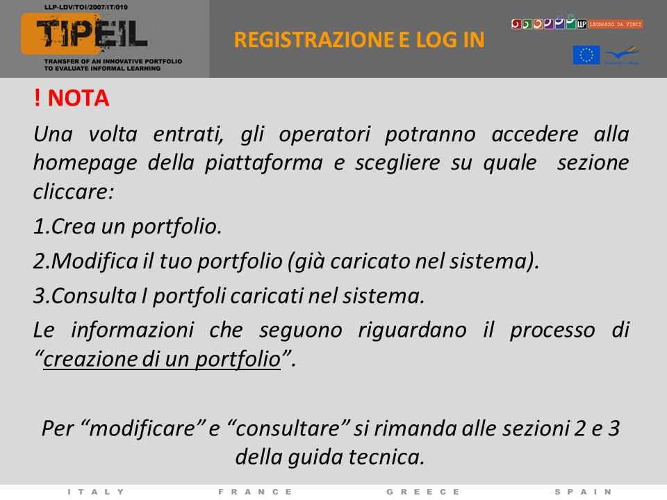 ! NOTA REGISTRAZIONE E LOG IN