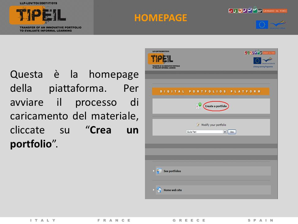 HOMEPAGE Questa è la homepage della piattaforma.