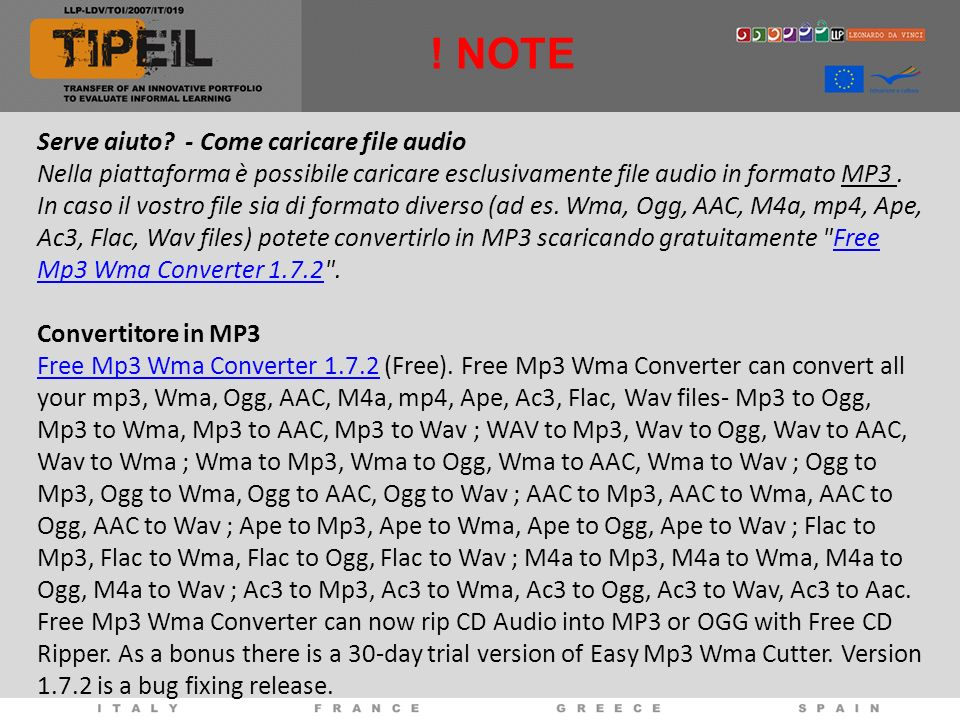 ! NOTE Serve aiuto - Come caricare file audio