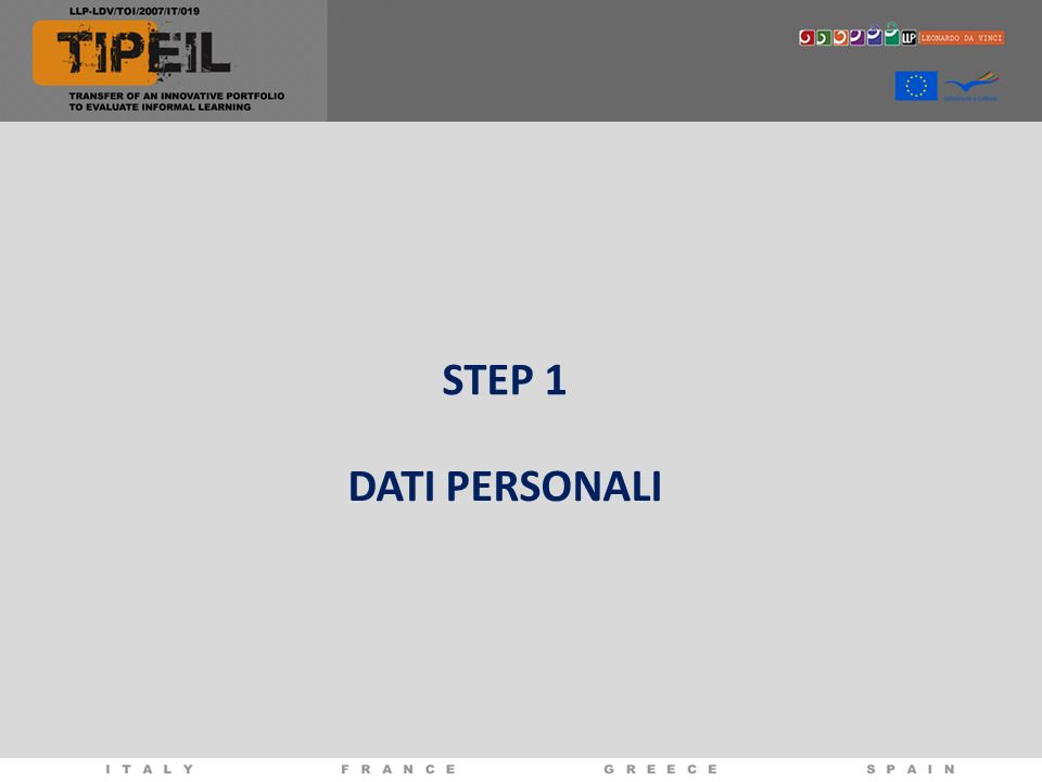 STEP 1 DATI PERSONALI