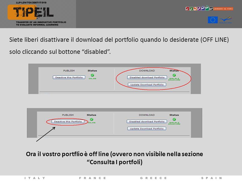 Siete liberi disattivare il download del portfolio quando lo desiderate (OFF LINE) solo cliccando sul bottone disabled .